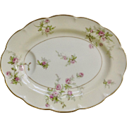 "Sylvia Cream Rim Pilgrim by Theodore Haviland Limoges France Pink Flowers 11"" Oval Serving Platter Dish"