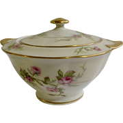 Sylvia Cream Rim Pilgrim by Theodore Haviland Limoges France Pink Flowers Sugar Bowl and Lid Dish