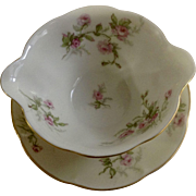"""Sylvia Cream Rim Pilgrim by Theodore Haviland Limoges France Pink Flowers 5-3/4"""" Gravy Boat with Attached Underplate Dish"""