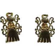 """Silver Tone Angels Small Pierced Ear Earrings with Stud Post Christmas Costume Jewelry Marked MJ 3/4"""""""