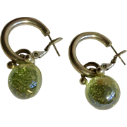 """Silver Tone and Light Green Dangling Beads on Small Loops for Pierced Ears Earrings Costume Jewelry 1-1/4"""""""