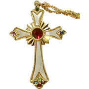 """Gorgeous Gold Tone Crucifix Cross With Inlaid Faux Mother of Pearl and Colored Rhinestones Necklace Costume Jewelry 2"""""""