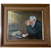 Grace, Man Praying At Table, Oil Painting on Canvas 1970's