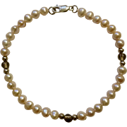 Pink to Peach Fresh Water Pearl Bracelet with 925 Sterling Clasp 5mm