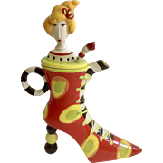 Dolly Mama's by Joey High Heal Red Shoe with Green and Yellow Spots and Lady with Yellow Hair Birthday Girl Whimsical Teapot Discontinued