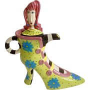 Dolly Mama's by Joey High Heal Green Shoe with Blue Flowers and Lady with Pink Hair Birthday Girl Whimsical Teapot Discontinued