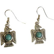 """Silver-tone Birds Native American with Faux Turquoise Fishhook Pierced Earrings Costume Jewelry 7/8"""""""