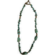 """Vintage Turquoise Natural Stone Necklace with Sterling Silver 925 Beads Jewelry 18-1/2"""""""