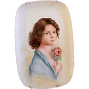 A. Jermaine, Young Nude Lady Holding a Rose Flower, Original Painting on Porcelain Plate Signed by Artist