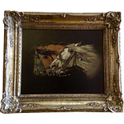 Antique Oil Painting Profile of Three Horses Running