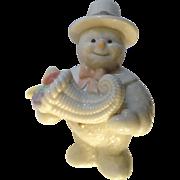 Lenox Snowman Harvest Cornucopia Ceramic Christmas Figurine 2000 Discontinued