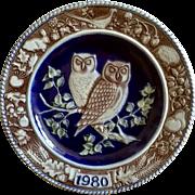 1980 Goebel Bavarian Forest Series Saltglazed Stoneware Plate Owl 1st Edition Retired