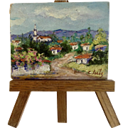 Clutz, Miniature Oil Painting on Wood Landscape Costa Rica with Easel Signed By Artist