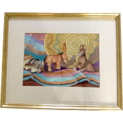 "Margaret R Pasolli CWS, ""3 Little Donkeys,"" Painting Works on Paper Signed By Colorado Watercolor Society Artist Original Watercolor"