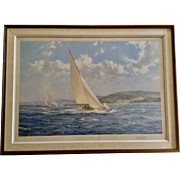 Montague Dawson Print, Yacht Race Down the Coast. Seascape Sailboats at Full Sail, Frost & Reed 1950 Lithograph Signed