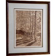 Dergan, Sepia Tone Stone Litho Etching, Morning At Cedar Mountain, Limited edition Signed Print