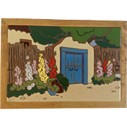 Southwestern Adobe Gate Entry With Red, Yellow and Pink Wildflowers Vintage Trivet Arius Santa Fe Art Tile 1980's
