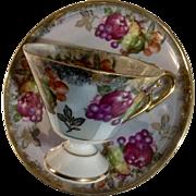 Vintage Royal Halsey LM Very Fine Cup and Saucer Blue to Violet Luster Fruit Porcelain