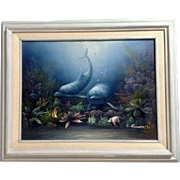 C Benolt (Charles Redmond Benolt), Tropical Fish, Dolphins and Underwater Seascape Oil Painting Signed by Listed Florida Artist