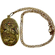 """Vintage Deer and Bird Hand Painted and Carved Shell Pendant on Gold Tone Necklace 31"""""""