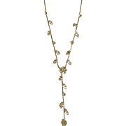 """Stunning Choker Faux Diamond Necklace with Dangling Leaf and Flower Jewels Costume Jewelry 14"""""""
