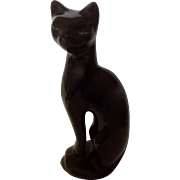 Vintage Retro Atomic Black Cat With Green Eyes Porcelain Statue Figurine 11 Inches tall