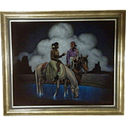 Jack Fisher, Native American Indians On Horseback Oil Painting On Black Velvet Signed By Hawaiian Artist