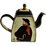 Vintage Enamel Miniature Charlotte di Vita Teapot Depicting Toulouse-Lautrec's Famous 'The Swordsman' Painting