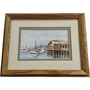 Betsy Jones, Restaurant Down At The Marina Watercolor Painting Signed by Artist
