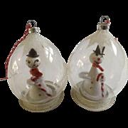 Retro Snowman In Glass Globe Christmas Tree Ornament