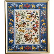 Vintage Needlepoint Embroidery Hunting Horses Handmade and Signed By Artist Rosie Picture