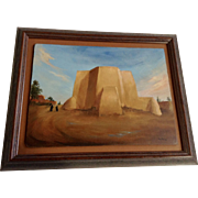 Richard Maitland (1925-2014) St. Francis of Assisi Church Rancho De Taos Landscape Oil Painting Signed By Listed New Mexico Artist