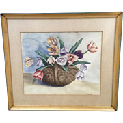 Etheridge, Basket of Tulips Floral Still Life Watercolor Painting Signed by Artist