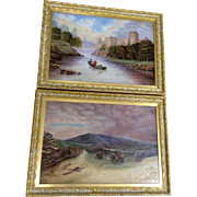 J. Evans, Paintings 19th Century Oil on Canvas, Fishermen With Boats and the Town Castle Set of 2 Original, Signed by Artist