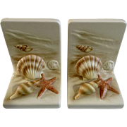 Vintage Otagiri Bookends Set Sea Shells on the Sea Shore Ceramic