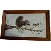 G Simpson, Gray Squirrel and Bird in the Snow Acrylic Painting On Canvas Signed by Artist