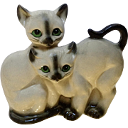 Vintage Siamese Twin Ceramic Cats With Green Eyes Japan Figurine