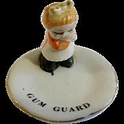 Vintage Gum Guard Keeper Little Girl Porcelain Figurine Plate Enesco Mid-Century