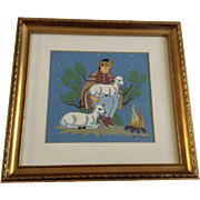 Harrison Begay (1917-2012) Navajo Indian Shepard Boy Warming By Fire Original Serigraph Print Santa Fe New Mexico Artist