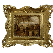 Vintage European Enhanced Hand Painted Print Street Scene in Bright Gold Frame Italy