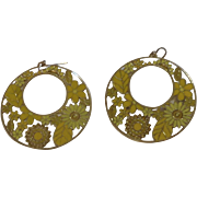 Enameled Yellow Floral and Gold-tone Groovy Disco Earrings With Fishhooks For Pierced Ears
