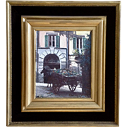 Ferdinando Del Basso (1897-1973) Horse Drawn Cart In European Street Scene Oil Painting Signed By Listed Italian Artist
