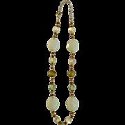 "Light Apple Green Beaded Necklace Costume Jewelry 20"""