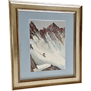 F. A. Whiteside, Downhill Extreme Skiing on Steep Colorado Mountain Peak Watercolor Painting Signed by Artist 1947