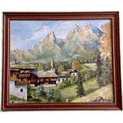 Hoepfner Church Landscape Oil Painting of the Bavarian Alps Signed by Artist