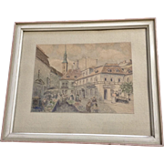 1964 KK Architectural Watercolor Painting of a European City Monogrammed by German Artist