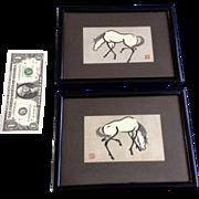Urushibara Mokuchu (Yoshijiro) (1888-1953) Grazing Horse & Horizontal Horse Vintage Postcards in Original Frames