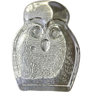 Clear Glass Owl Bird Art Glass Animal Figurine Blenko Handcraft Mid Century Bookend