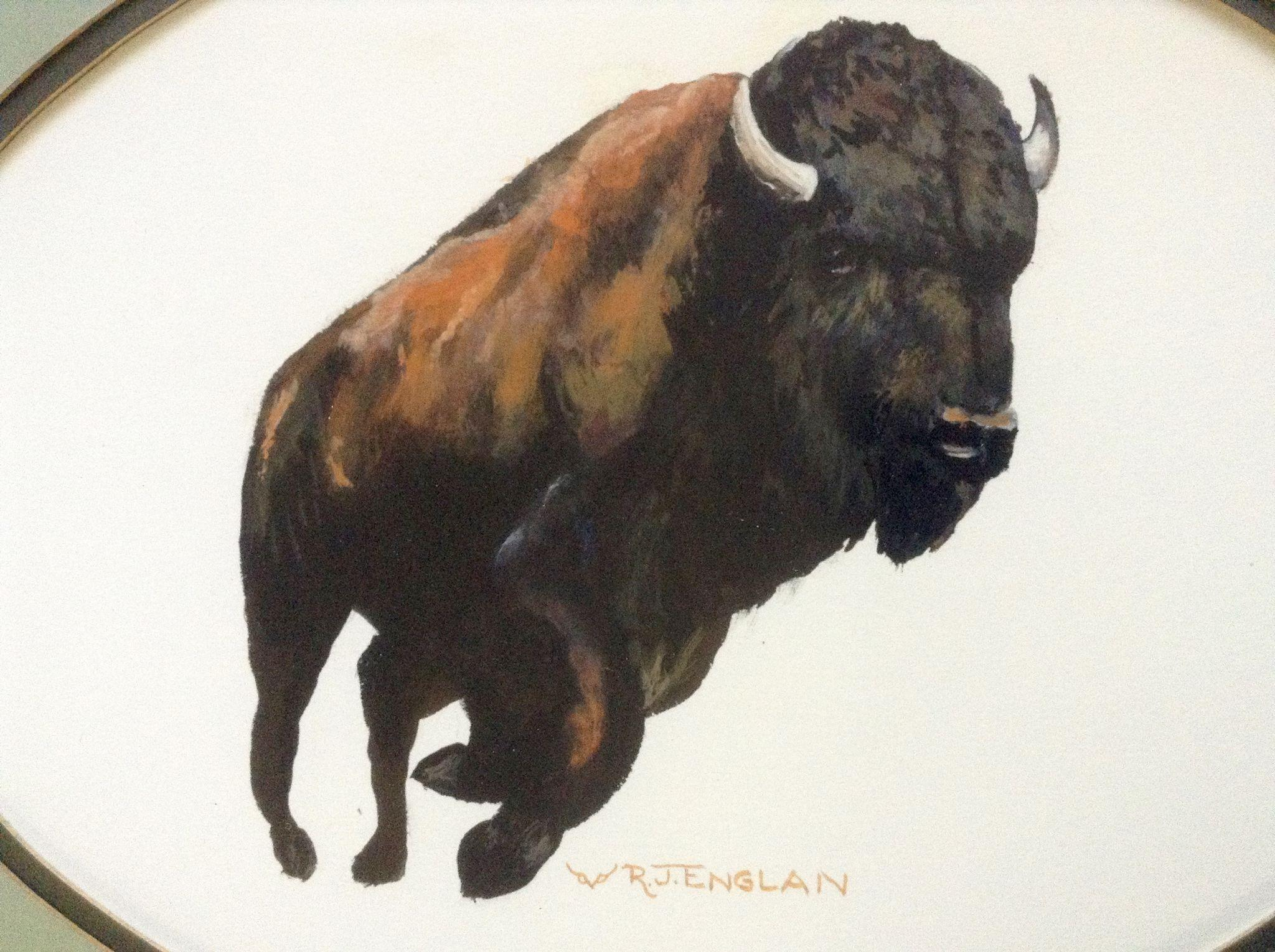 r  j  englan  a running buffalo  gouache watercolor painting works on from gumgumfuninthesun on