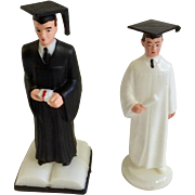 Mid-Century Graduation Male Man Cake Topper Black & White Plastic Set Hong Kong
